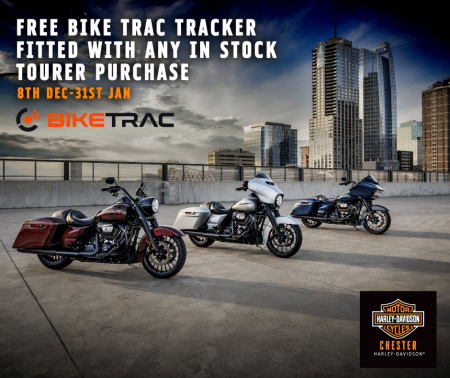 FREE BIKE TRAC TRACKER FITTED WITH ANY IN STOCK  TOURER PURCHASE