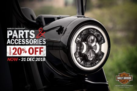 20% OFF Parts and Accessories until December 31, 2018