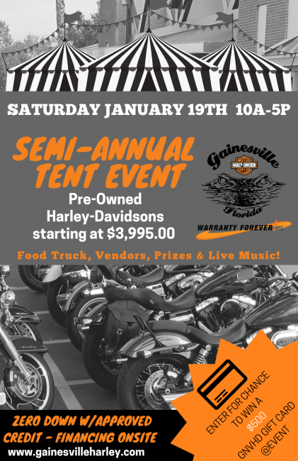 Semi-Annual Tent Event at Gainesville Harley-Davidson
