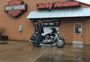 Give Eric a huge congratulations on his FLHT! Eric is from southern Pa and found it was worth the ride to us for clean, reliable, pre-owned Harley-Davidson motorcycles. Eric is upgrading from a Sporty and is stoked to get riding on his new bike. Thanks Er