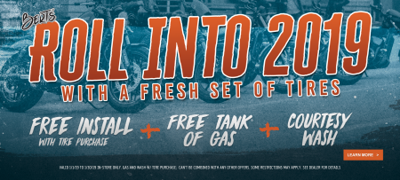 Roll Into The New Year Free Install w/ tire purchase + Tank of Gas + Courtesy Wash