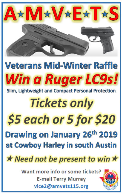 Support the AMVETS, Win A Pistol and Eat Some Chili!! 1/26/2019