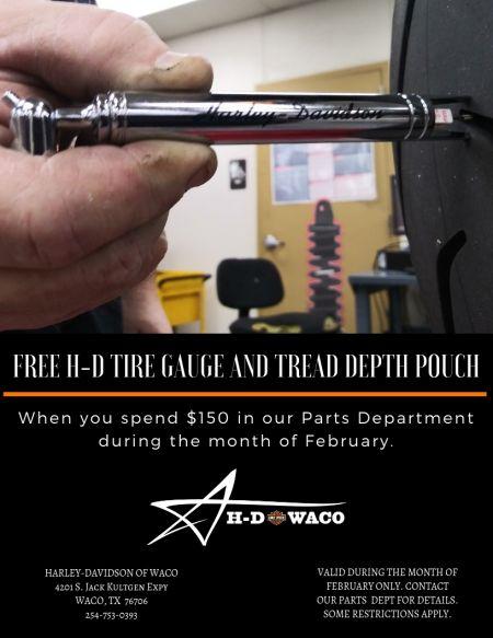 Free H-D Tire Gauge & Tread Depth Pouch