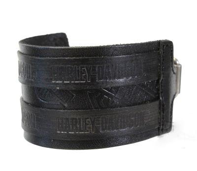Men's Distressed B&S Logo Black Leather Wrist Cuff