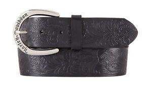 Ladies Dixie Allover Embossed Print Black Leather Belt