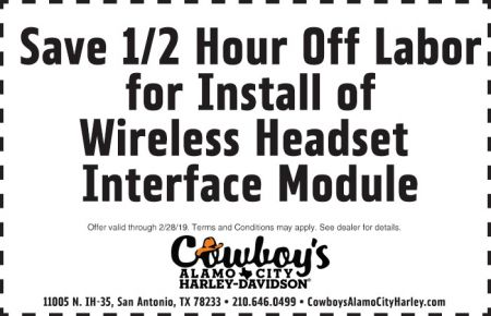 FEBRUARY SERVICE COUPON - 1/2 HOUR OFF LABOR ON INSTALL OF WIRELESS HEADSET