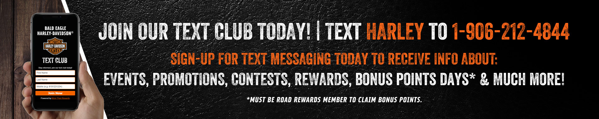 JOIN OUR TEXT CLUB AND & GET INSTANT EVENT UPDATES