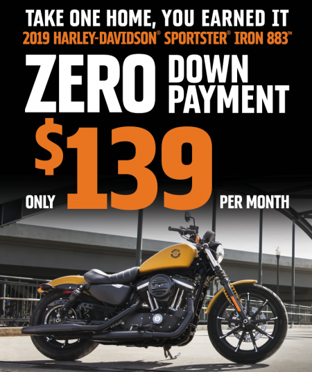 2019 H-D® Sportster® ZERO Down Payment Offer