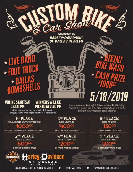 Custom Bike and Car Show Presented by Harley-Davidson of Dallas in Allen
