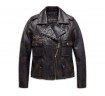 Ladies Eagle Logo Distressed Leather Biker Jacket