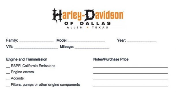 Free Used Motorcycle Trade Value Form