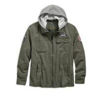 Men's Grape Leaf Hooded Cotton Slim Fit Jacket