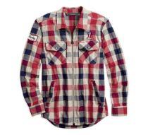 Mens Plaid #1 Plaid Zippered Slim Fit Shirt