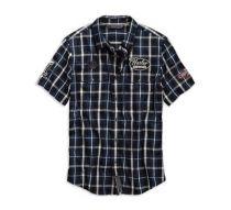 Men's Plaid Multi-Patch Slim Fit Plaid Shirt