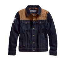 Mens Dark Indigo Rinse Waxed Canvas Slim Fit Denim Jacket