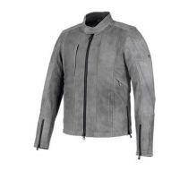 Mens Grey Burghal Slim Fit Leather Jacket