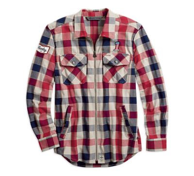 Mens Plaid #1 Plaid Zippered Slim Fit Shirt