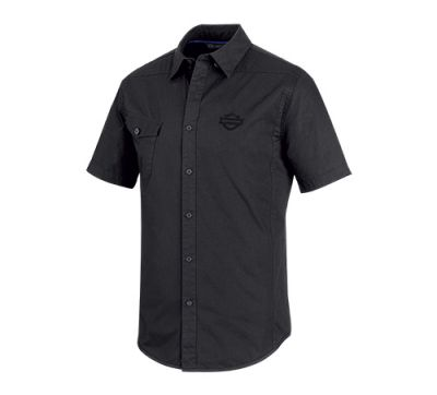 Mens Black Performance Vented Stretch Slim Fit Shirt