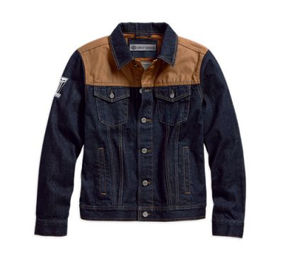 Mens Dark Indigo Rinse Waxed Canvas Slim Fit Denim Jacket