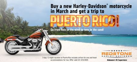 Buy a New Harley-Davidson Motorcycle and Get a trip to Puerto Rico