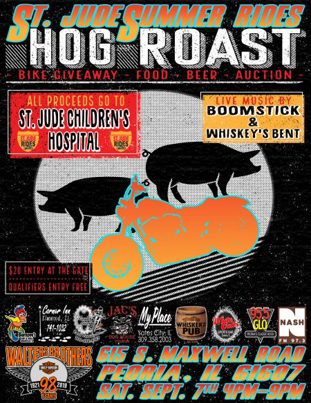 St Jude Summer Rides Bike Giveaway/Hog Roast/Concert