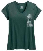 Harley-Davidson® Women's Live Free V-Neck Short Sleeve Tee, Green