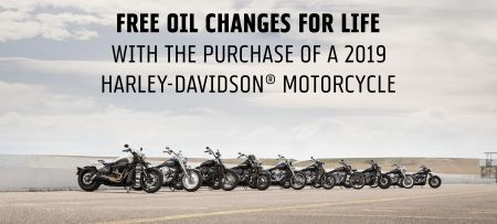 FREE OIL CHANGES FOR LIFE WITH THE PURCHASE OF A 2019 MOTORCYCLE