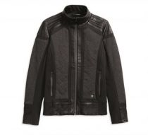 JACKET-MIXED MEDIA,KNT,BLK