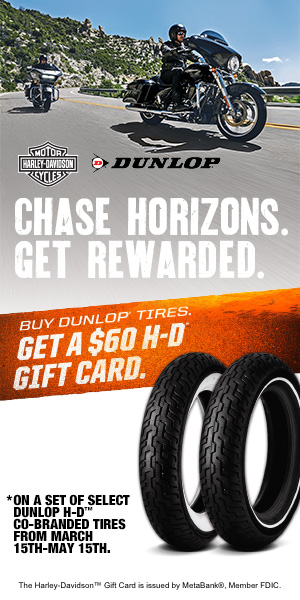 Buy a set of Dunlop tires and get a $60 HD gift card!