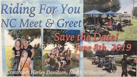 Riding for you NC Meet and Greet Saturday, June 8th 2019