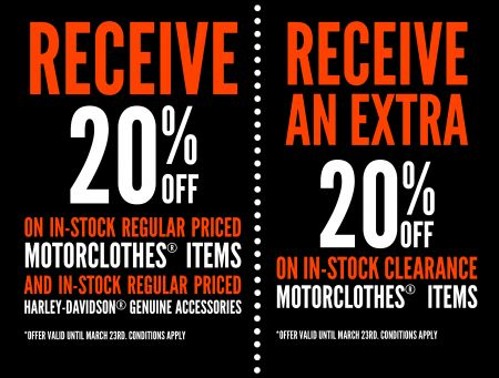 20% OFF GENUINE MERCHANDISE AND ACCESSORIES