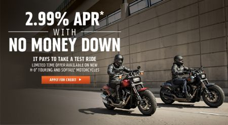 Get a front row seat to the open road. Find and finance a new Touring or Softail® bike with rates as low as 2.99% APR*. Schedule your test ride today.