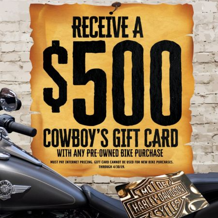 Receive a $500 Cowboy Gift Card with Pre-Owned Bike Purchase!