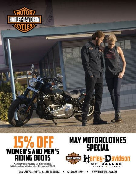 MAY MOTORCLOTHES SPECIAL 15% OFF WOMAN AND MEN'S RIDING BOOTS.