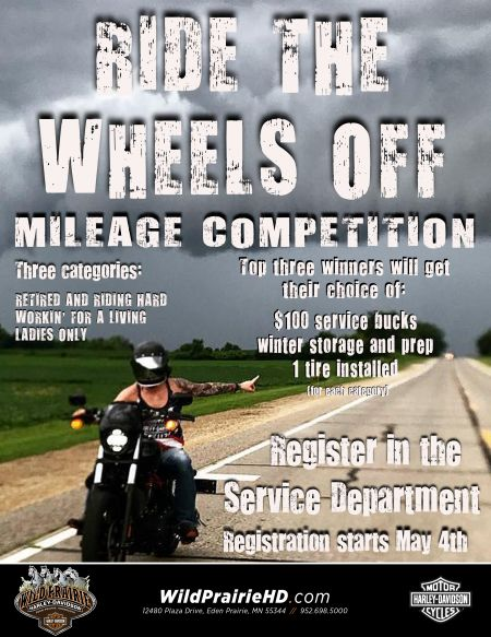 Ride the Wheels Off Mileage Competition!