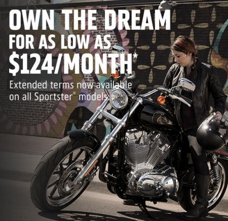 GET ON A SPORTSTER® MODEL FOR AS LOW AS $124 PER MONTH.