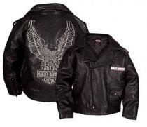 Harley-Davidson® Boys Eagle Bar & Shield Black Faux Leather Biker Jacket