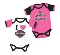 Harley-Davidson® Baby Girls' Princess Creeper Set, 2 Pack Pink/White