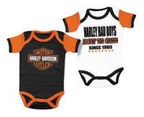 Harley-Davidson® Baby Boys' Cradle Creeper Set, 2 Pack, White/Black