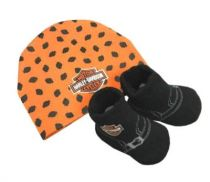 Harley-Davidson® Baby Boys' Beanie & Biker Booties Set, Orange & Black