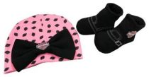Harley-Davidson® Newborn Girls' Beanie & Booties Set