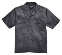 Harley-Davidson® Men's Willie G Skull Short Sleeve Garage Shirt, Gray.