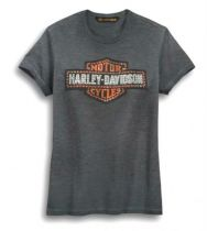 Harley-Davidson® Women's Studded Logo Tee | Long Bar & Shield® | Short Sleeves
