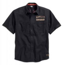 Harley-Davidson® Men's Woven Shirt, Winged #1 Short Sleeve, Black