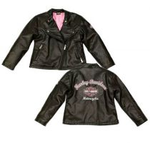 Harley-Davidson® Girls' Laundered Faux Leather Biker Jacket