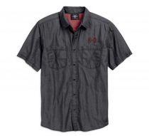 Mens Black Short Sleeve Woven Shirt