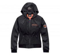 Womens Black Lightweight Perf Hooded Jacket