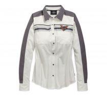 Womens Blanc de Blanc Stripe Colorblock Long Sleeve Shirt