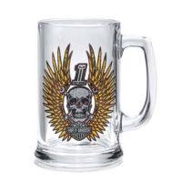 スカル&レンチ・ウィズウィング・ビールスタイングラス