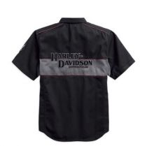 Harley-Davidson® Men's Iron Block Short Sleeve Woven Shirt, Black 99018-17VM